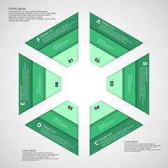 Hexagon consist of three green ribbons
