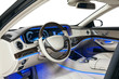 Car interior wood and leather decoration and blue ambient light - 81768948