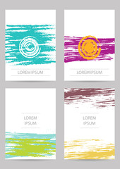Template. Set of creative ink cards