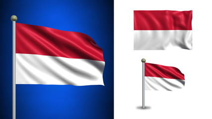 Indonesia flag - with Alpha channel, seamless loop!