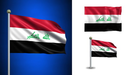 Iraq flag - with Alpha channel, seamless loop!
