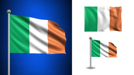 Ireland flag - with Alpha channel, seamless loop!