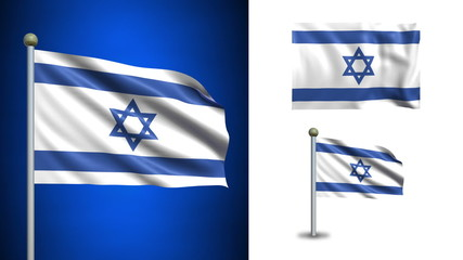 Israel flag - with Alpha channel, seamless loop!