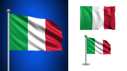 Italy flag - with Alpha channel, seamless loop!