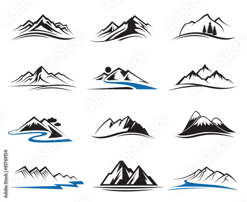 set of twelve mountain icons poster