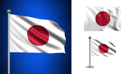Japan flag - with Alpha channel, seamless loop!