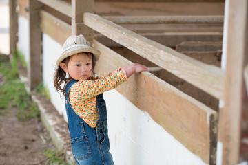 牧場で遊ぶ女の子