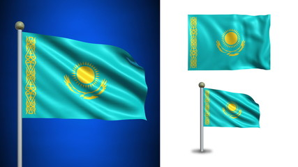 Kazakhstan flag - with Alpha channel, seamless loop!