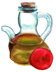 Watercolour bottle of olive oil and tomato on white background