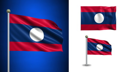 Laos flag - with Alpha channel, seamless loop!