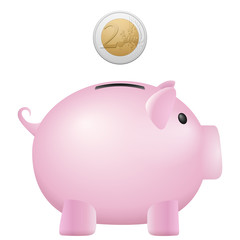 piggy bank two euro