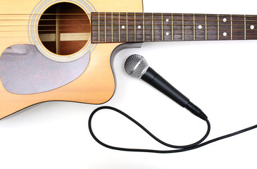 Guitar and microphone.