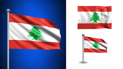 Lebanon flag - with Alpha channel, seamless loop!