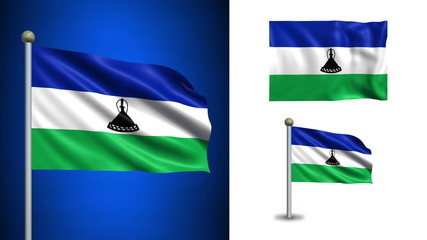 Lesotho flag - with Alpha channel, seamless loop!