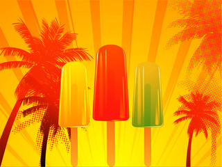 Tropical sunset with ice lolly