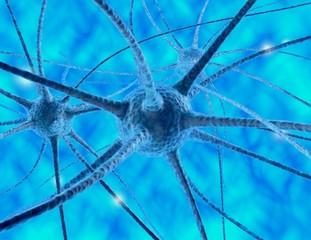 Nerve cells 3d abstract render blue illustration.