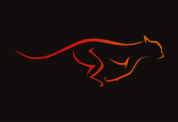 tiger (cheetah) runing logo vector illustration