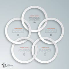 Interlocking White Rings #Vector Graphic
