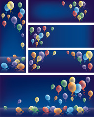 Baner colored balloons background