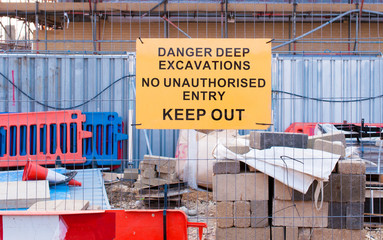 Warning sign for deep excavtion on maintenance site