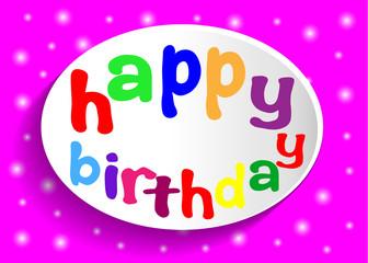 Надпись happy birthday в овальной белой рамке на розовом фоне