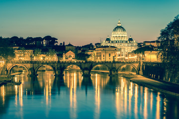 The Papal Basilica of Saint Peter in the Vatican with vintage fi