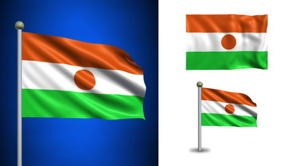 Niger flag - with Alpha channel, seamless loop!