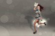 Fashion photo of running brunette woman over sparkling grey back