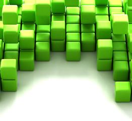 3d illustration of green cubes