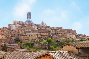 Cityscape of Siena in Tuscany, Italy.
