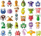 Set of vector cute monsters and robots