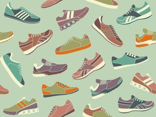 Seamless background from images sport shoes