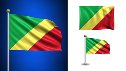 Republic of Congo flag - with Alpha channel, seamless loop!