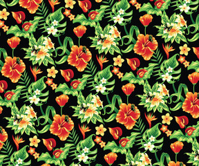 Tropical pattern with flowers and butterflies.