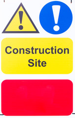 Sign 'Construction Site' with blank space