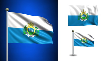 San Marino flag - with Alpha channel, seamless loop!