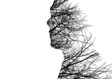 Man profile made of bare tree branches