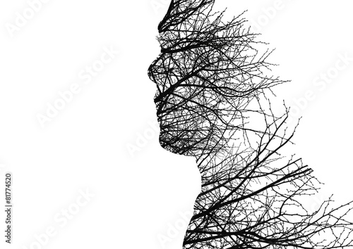 Leinwandbild Motiv Man profile made of bare tree branches