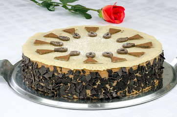 Chocolate cake with marzipan and red roses