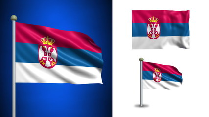 Serbia flag - with Alpha channel, seamless loop!