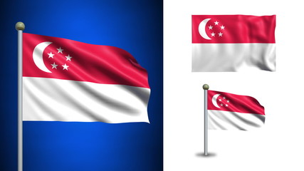 Singapore flag - with Alpha channel, seamless loop!