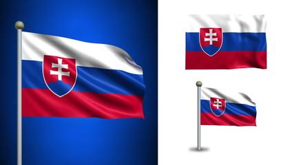 Slovakia flag - with Alpha channel, seamless loop!