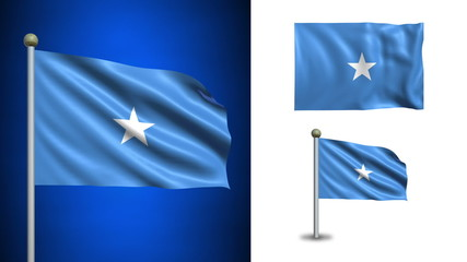 Somalia flag - with Alpha channel, seamless loop!