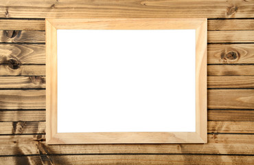isolated frame on wood