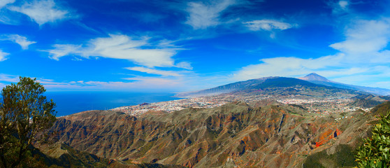 Panoramic view from El Bailadero mountain. Tenerife, Spain