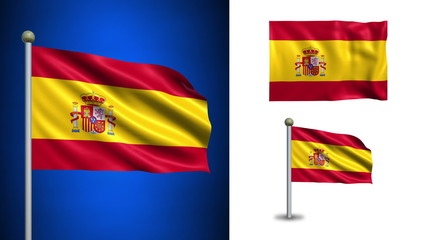 Spain flag - with Alpha channel, seamless loop!