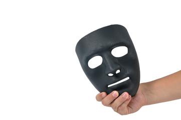 Man hand holding black mask, human behaviour