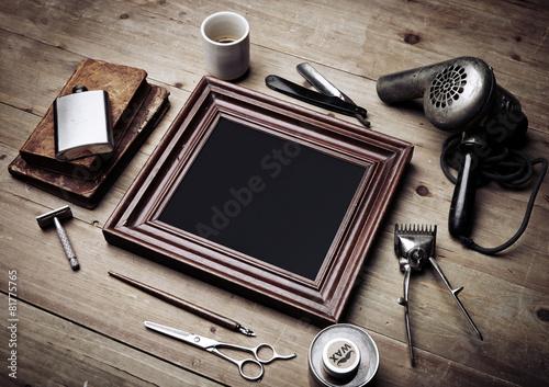 Set of vintage tools of barber shop and old picture frame - 81775765