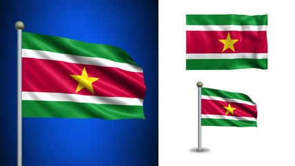 Suriname flag - with Alpha channel, seamless loop!