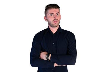 irritated man standing